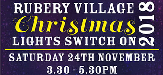 A promotional image for the 2018 Rubery Christmas lights switch on
